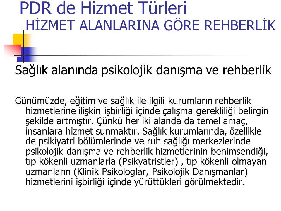 PDR de Hizmet Türleri HİZMET ALANLARINA GÖRE REHBERLİK