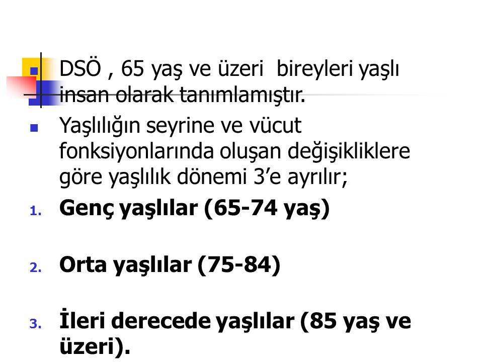 DSÖ , 65 yaş ve üzeri bireyleri yaşlı insan olarak tanımlamıştır.