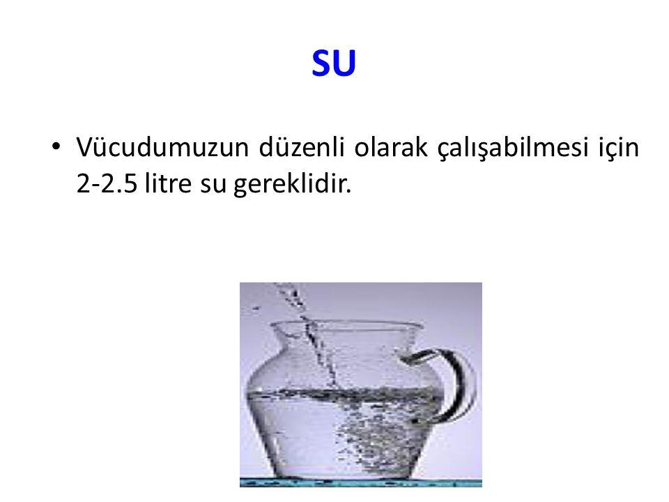 SU Vücudumuzun düzenli olarak çalışabilmesi için 2-2.5 litre su gereklidir.