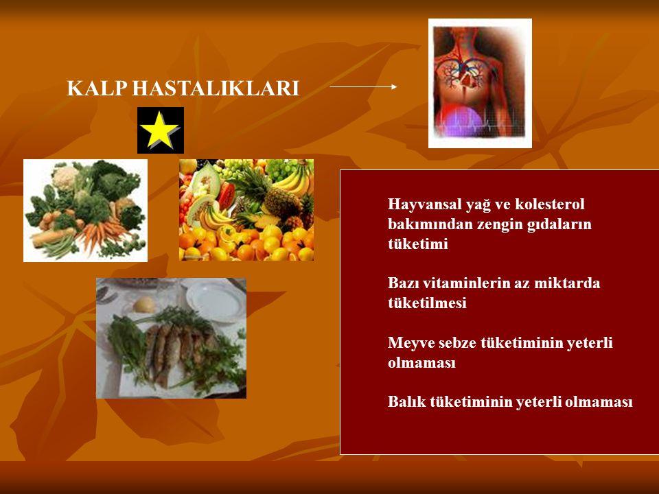 KALP HASTALIKLARI Hayvansal yağ ve kolesterol bakımından zengin gıdaların tüketimi. Bazı vitaminlerin az miktarda tüketilmesi.