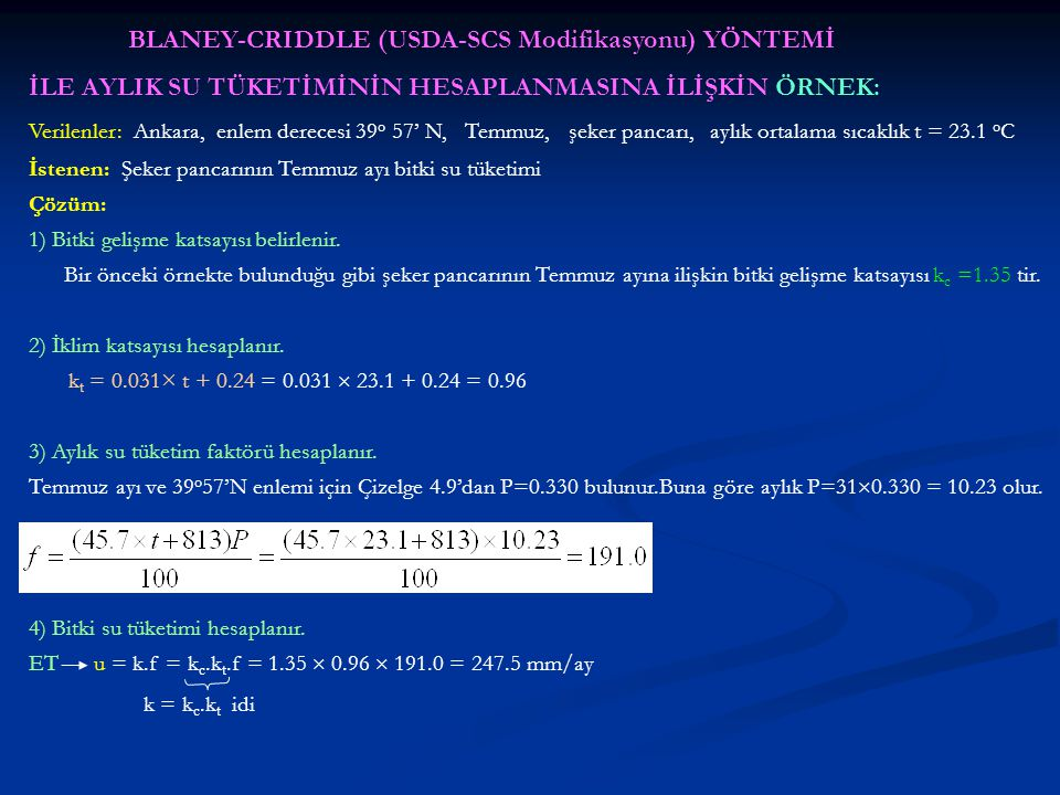 BLANEY-CRIDDLE (USDA-SCS Modifikasyonu) YÖNTEMİ