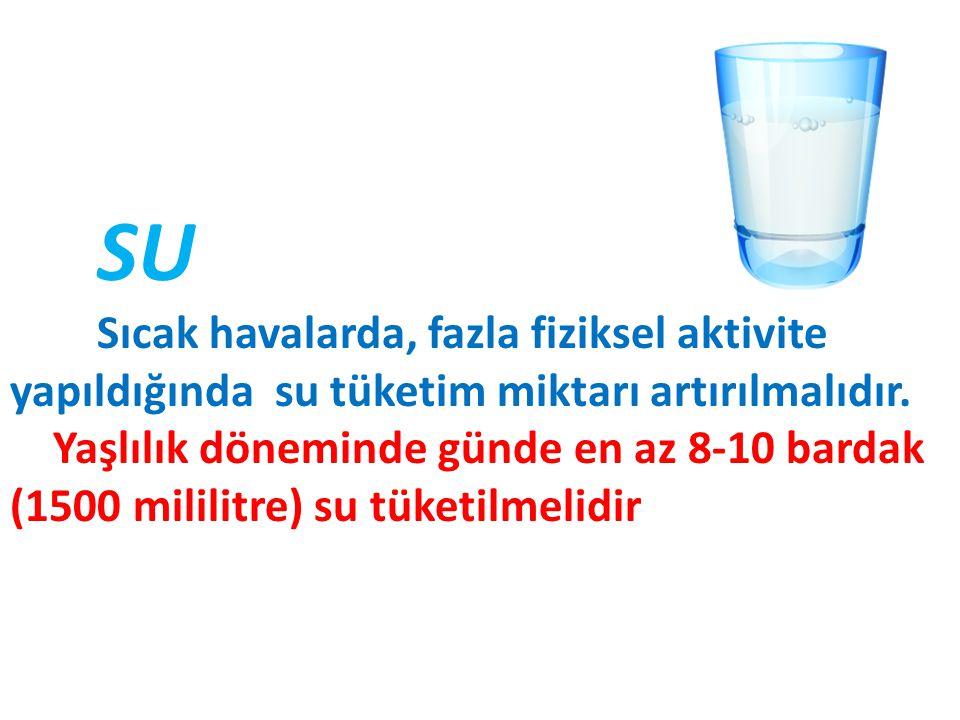 SU Sıcak havalarda, fazla fiziksel aktivite yapıldığında su tüketim miktarı artırılmalıdır.