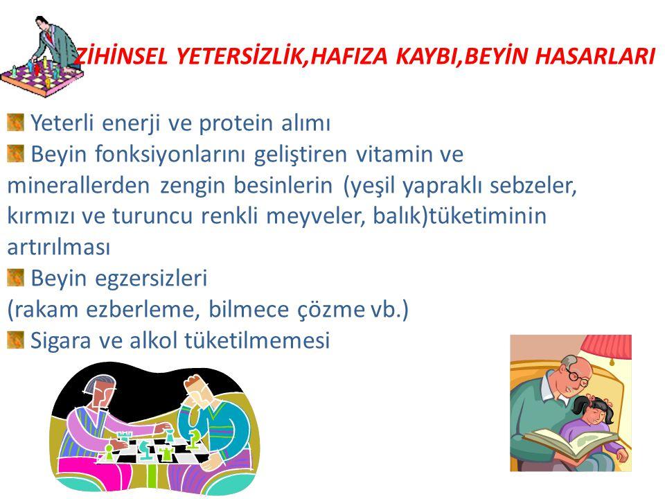 Yeterli enerji ve protein alımı