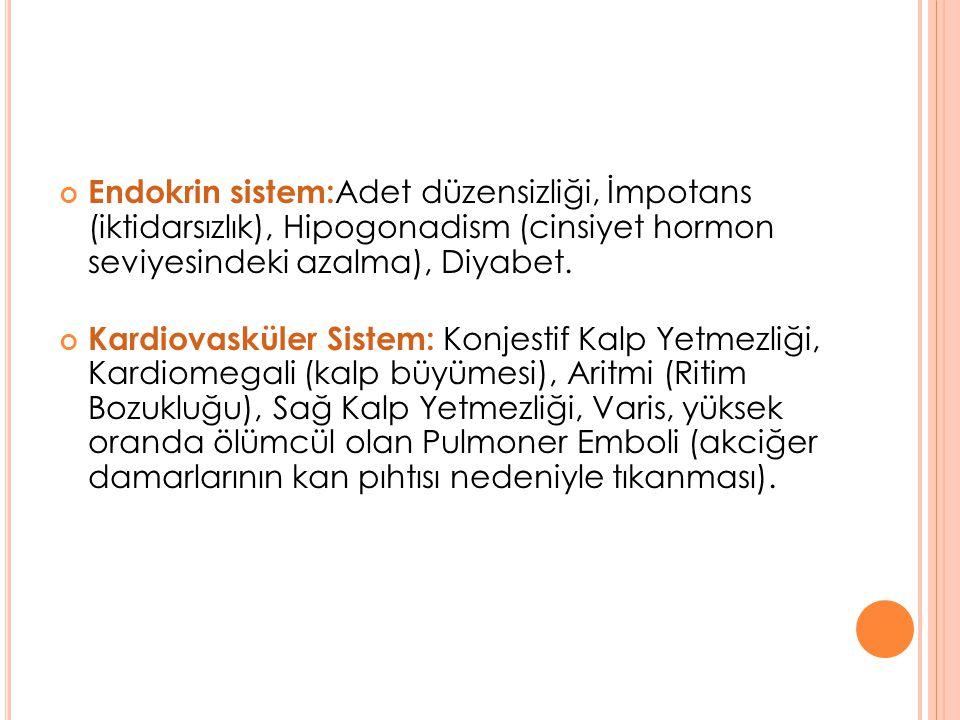 Endokrin sistem:Adet düzensizliği, İmpotans (iktidarsızlık), Hipogonadism (cinsiyet hormon seviyesindeki azalma), Diyabet.