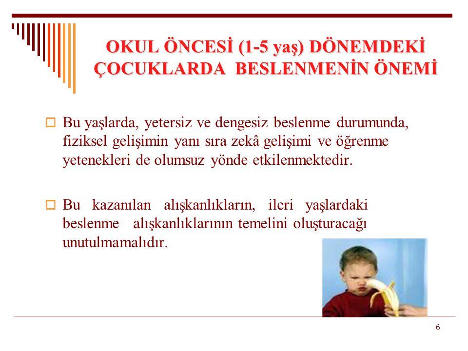 OKUL ÖNCESİ (1-5 yaş) DÖNEMDEKİ ÇOCUKLARDA BESLENMENİN ÖNEMİ