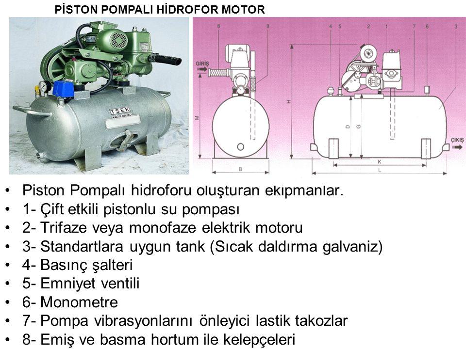 Piston Pompalı hidroforu oluşturan ekipmanlar.