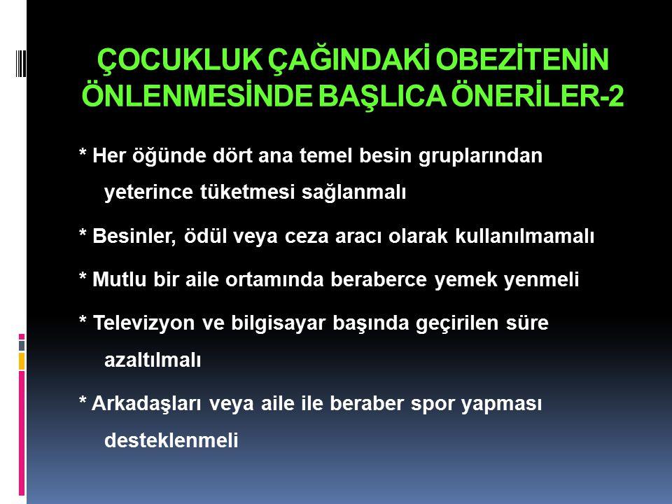 ÇOCUKLUK ÇAĞINDAKİ OBEZİTENİN ÖNLENMESİNDE BAŞLICA ÖNERİLER-2