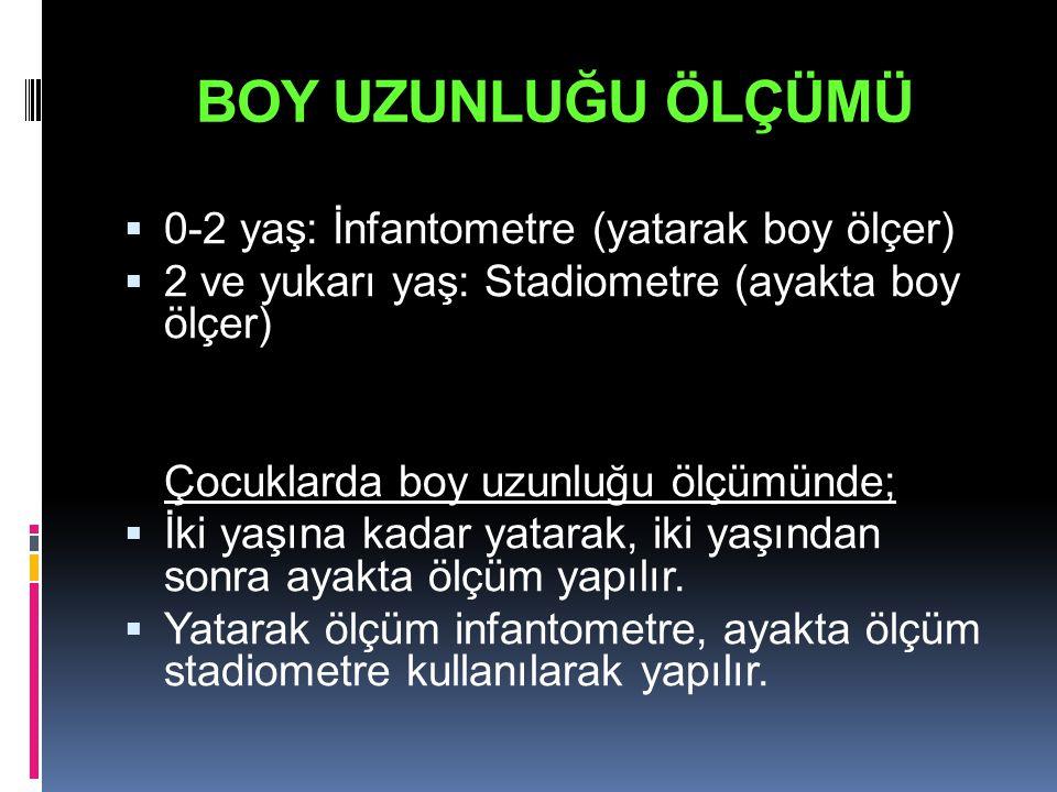BOY UZUNLUĞU ÖLÇÜMÜ 0-2 yaş: İnfantometre (yatarak boy ölçer)