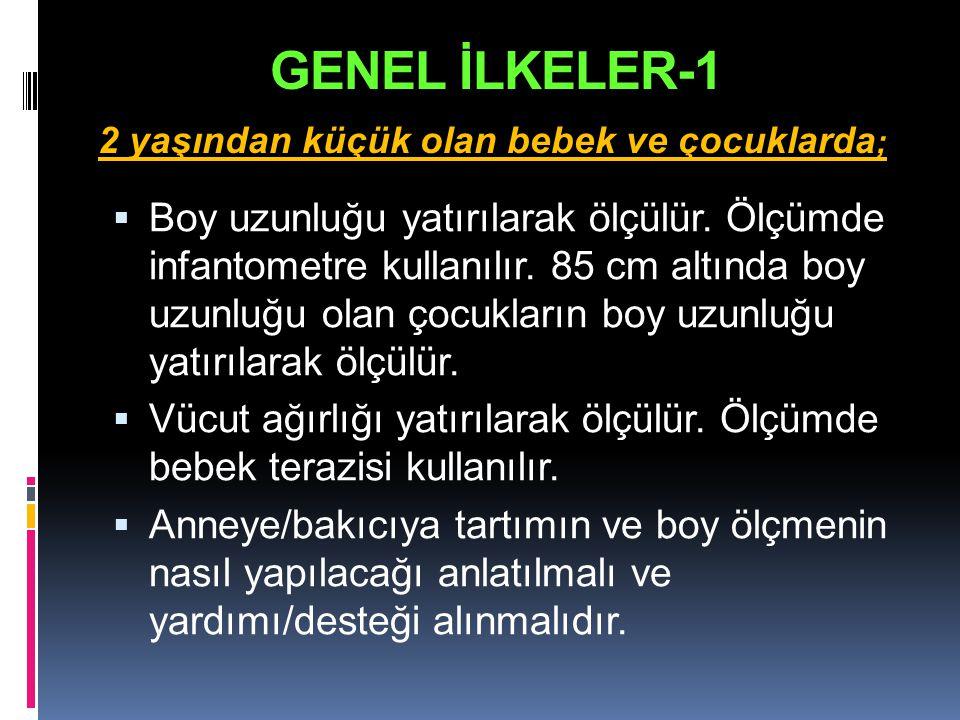 GENEL İLKELER-1 2 yaşından küçük olan bebek ve çocuklarda;