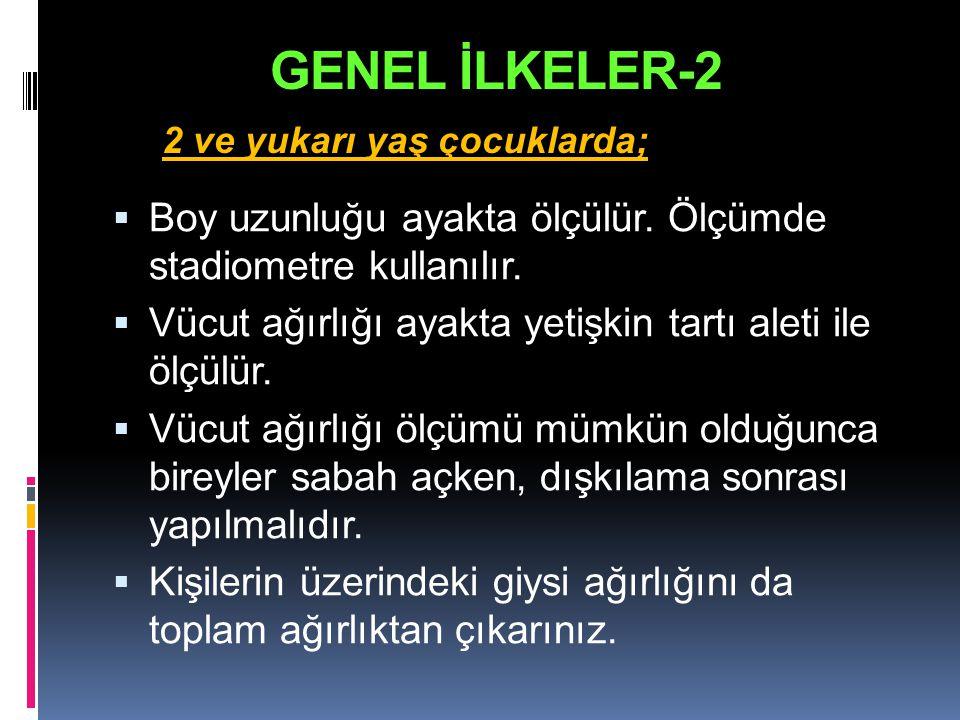 GENEL İLKELER-2 2 ve yukarı yaş çocuklarda; Boy uzunluğu ayakta ölçülür. Ölçümde stadiometre kullanılır.