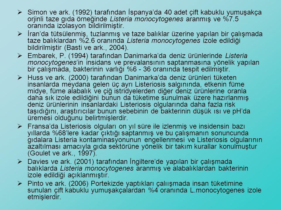 Simon ve ark. (1992) tarafından İspanya'da 40 adet çift kabuklu yumuşakça orjinli taze gıda örneğinde Listeria monocytogenes aranmış ve %7.5 oranında izolasyon bildirilmiştir.