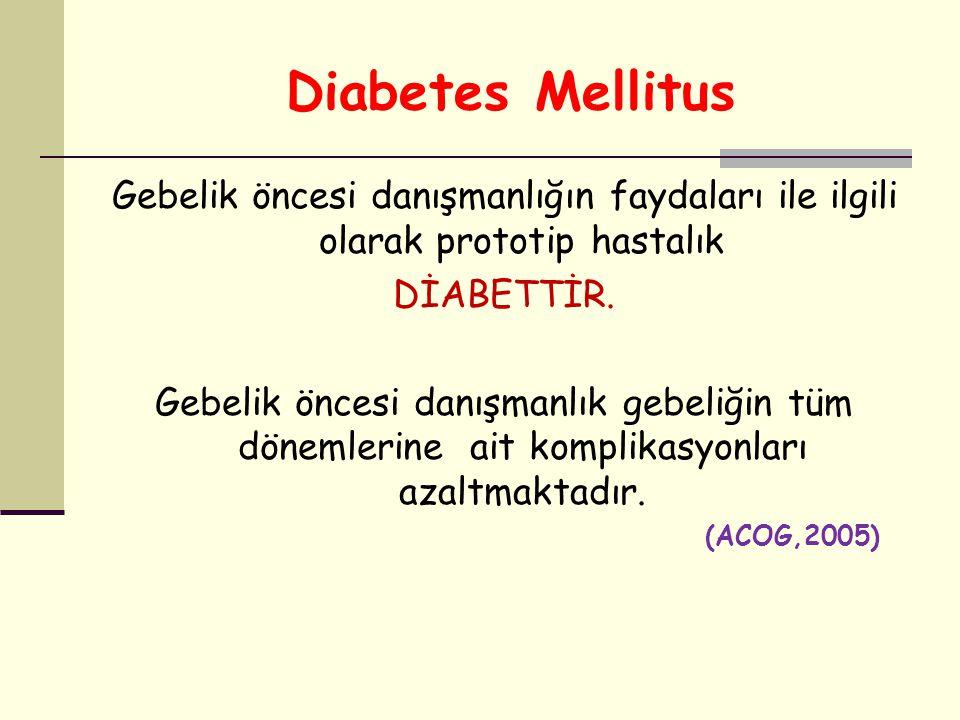 Diabetes Mellitus Gebelik öncesi danışmanlığın faydaları ile ilgili olarak prototip hastalık. DİABETTİR.