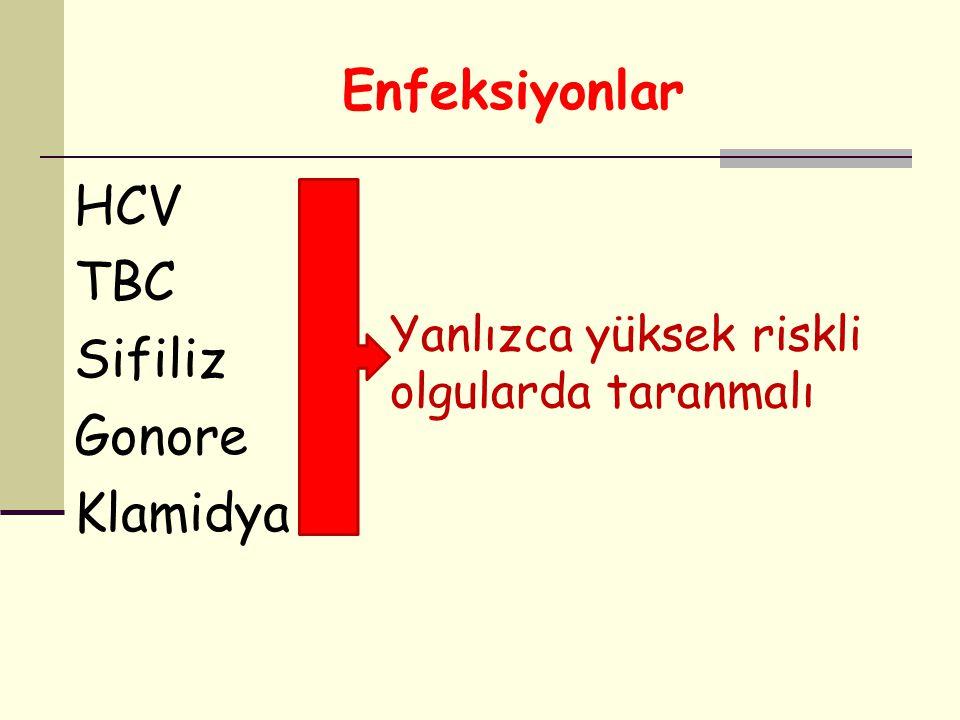 Enfeksiyonlar HCV TBC Sifiliz Gonore Klamidya