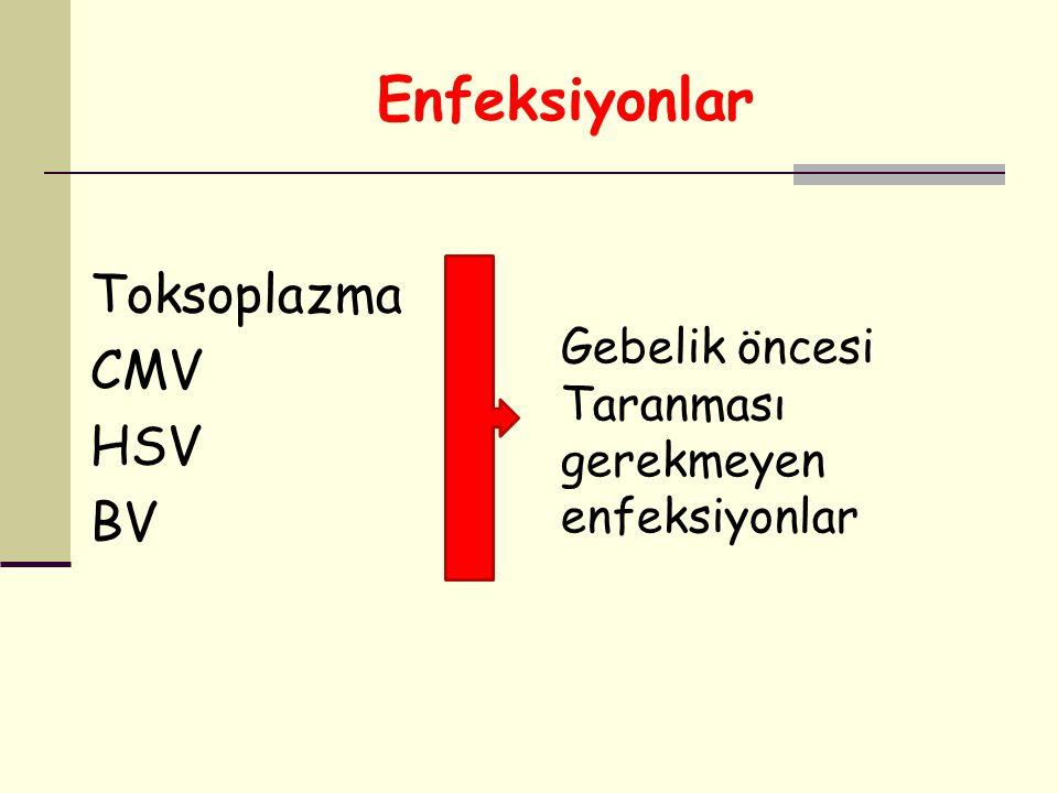 Enfeksiyonlar Toksoplazma CMV HSV BV Gebelik öncesi Taranması