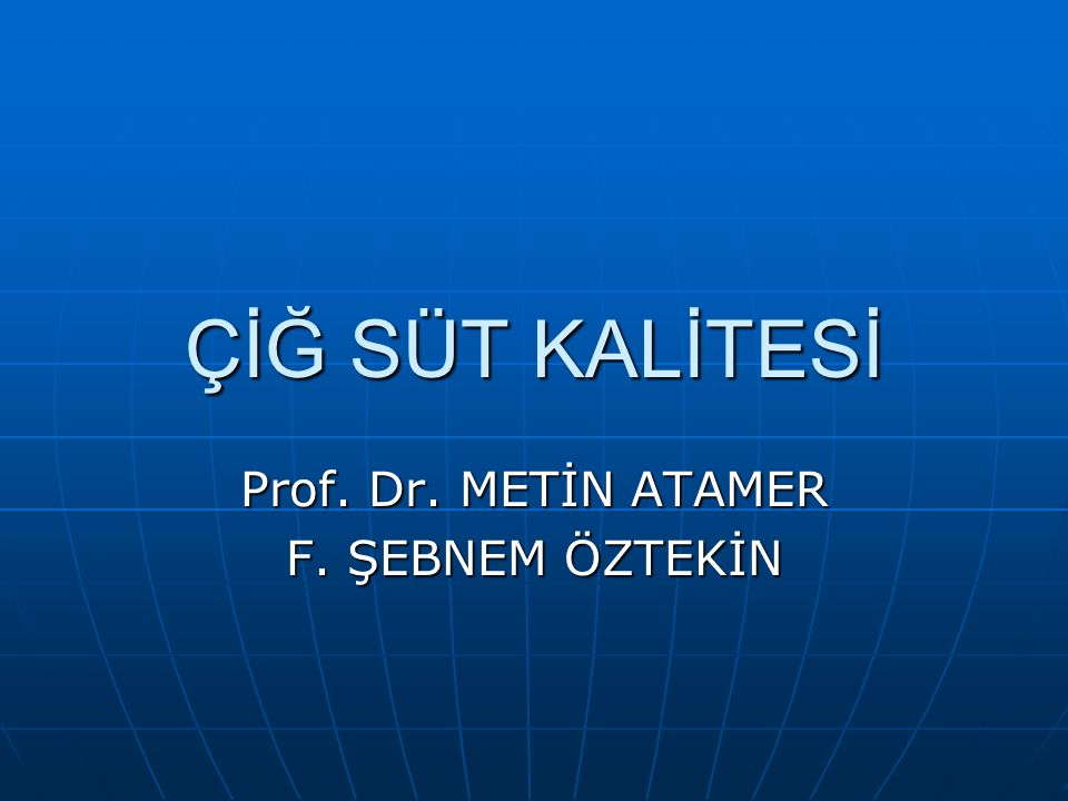 Prof. Dr. METİN ATAMER F. ŞEBNEM ÖZTEKİN