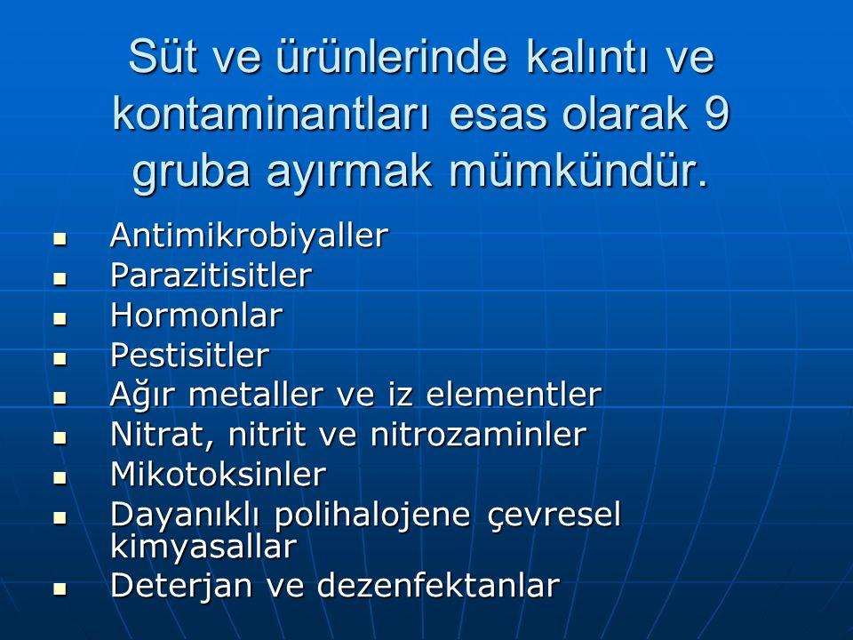 Süt ve ürünlerinde kalıntı ve kontaminantları esas olarak 9 gruba ayırmak mümkündür.
