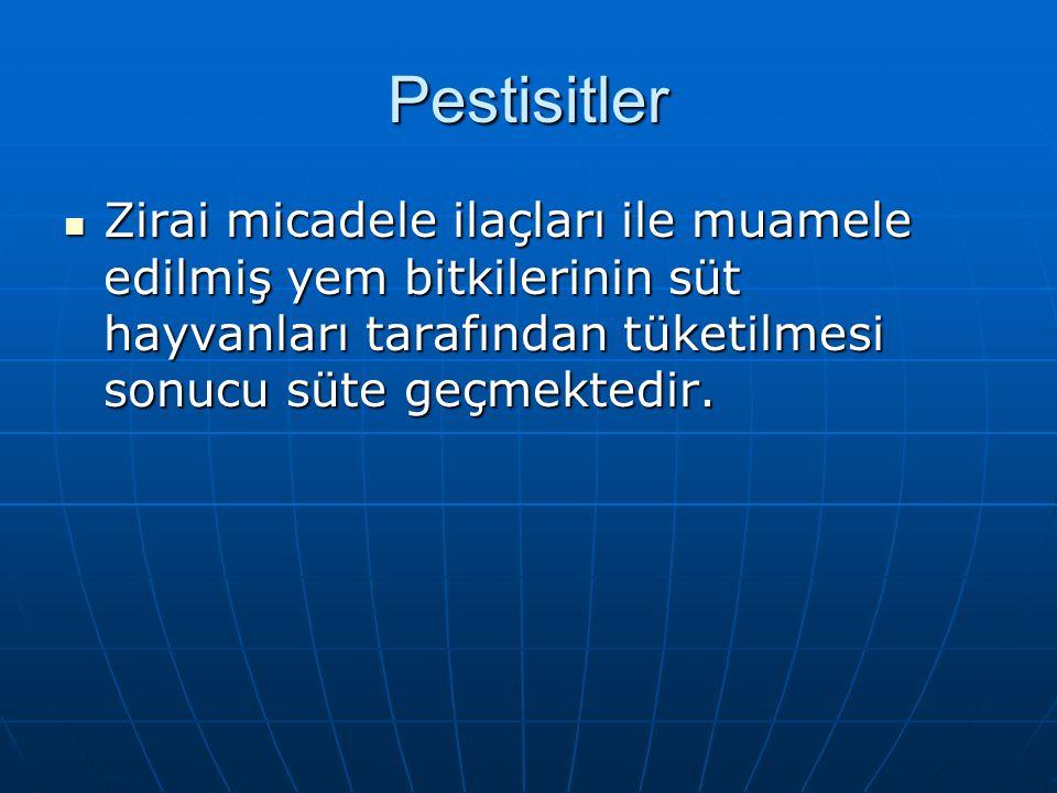 Pestisitler Zirai micadele ilaçları ile muamele edilmiş yem bitkilerinin süt hayvanları tarafından tüketilmesi sonucu süte geçmektedir.