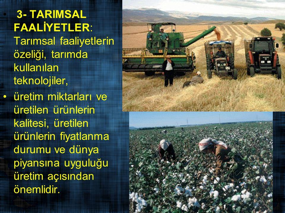 3- TARIMSAL FAALİYETLER: Tarımsal faaliyetlerin özeliği, tarımda kullanılan teknolojiler,