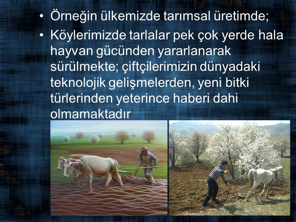 Örneğin ülkemizde tarımsal üretimde;