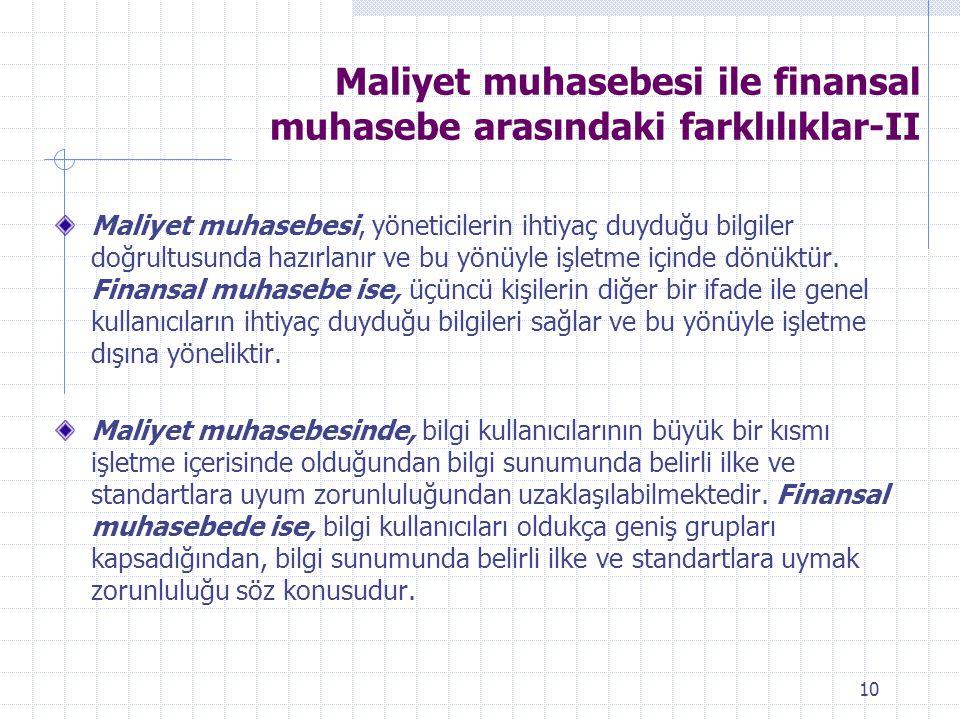 Maliyet muhasebesi ile finansal muhasebe arasındaki farklılıklar-II