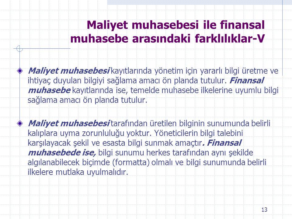Maliyet muhasebesi ile finansal muhasebe arasındaki farklılıklar-V