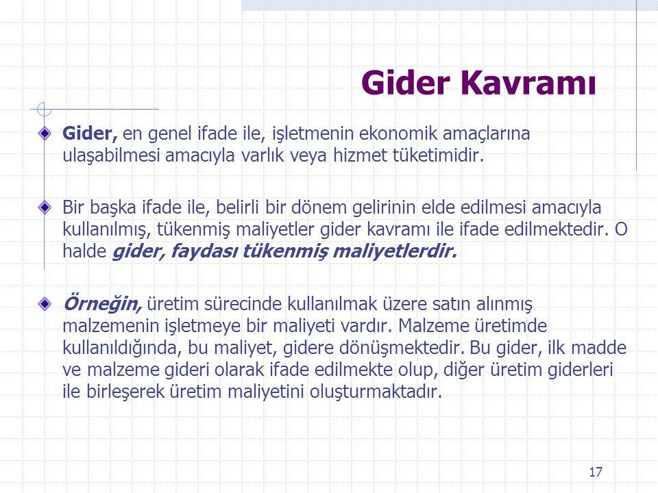 Gider Kavramı Gider, en genel ifade ile, işletmenin ekonomik amaçlarına ulaşabilmesi amacıyla varlık veya hizmet tüketimidir.