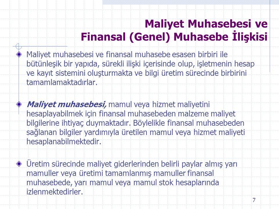 Maliyet Muhasebesi ve Finansal (Genel) Muhasebe İlişkisi