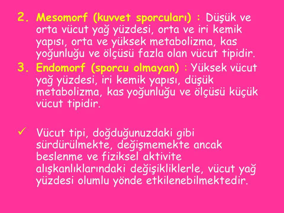 Mesomorf (kuvvet sporcuları) : Düşük ve orta vücut yağ yüzdesi, orta ve iri kemik yapısı, orta ve yüksek metabolizma, kas yoğunluğu ve ölçüsü fazla olan vücut tipidir.