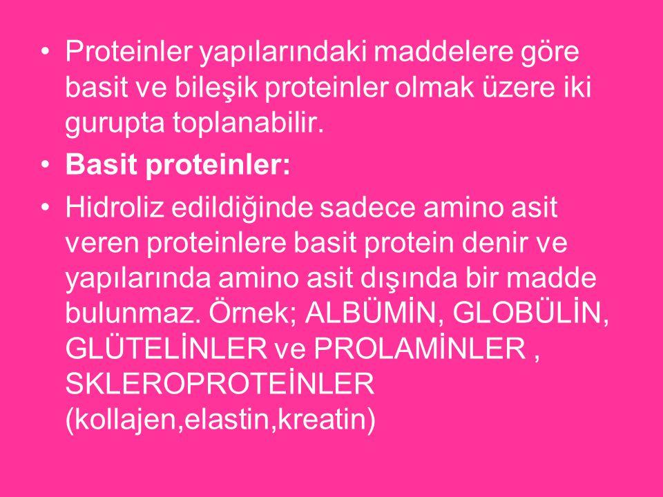 Proteinler yapılarındaki maddelere göre basit ve bileşik proteinler olmak üzere iki gurupta toplanabilir.