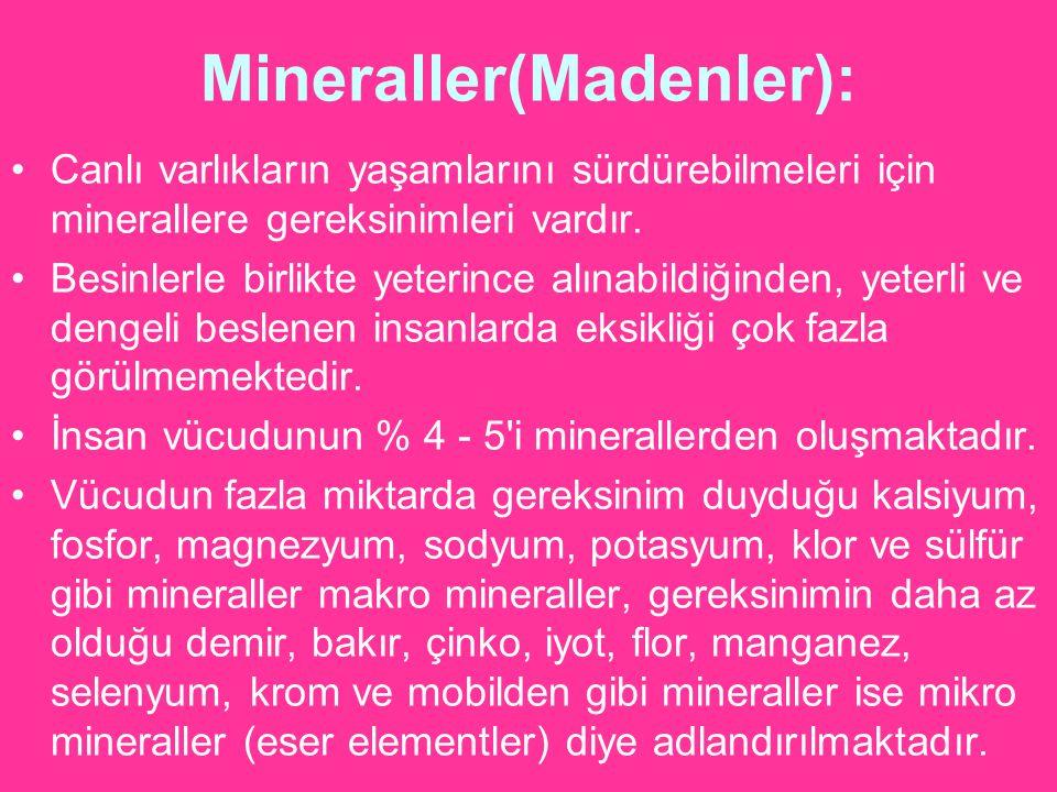 Mineraller(Madenler):