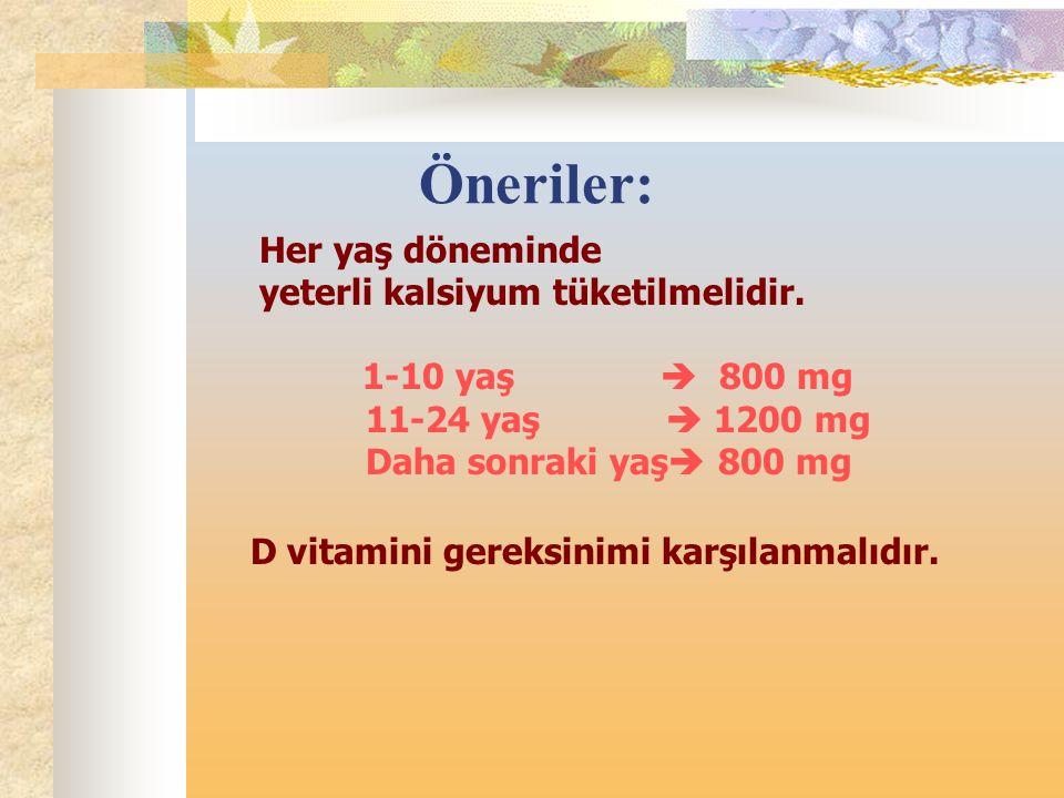 Öneriler: Her yaş döneminde yeterli kalsiyum tüketilmelidir.