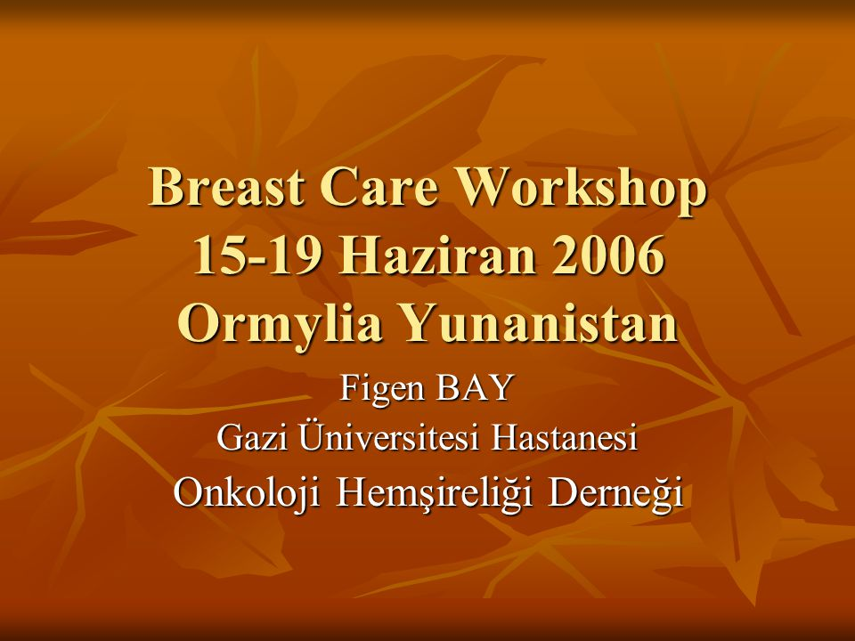 Breast Care Workshop 15-19 Haziran 2006 Ormylia Yunanistan