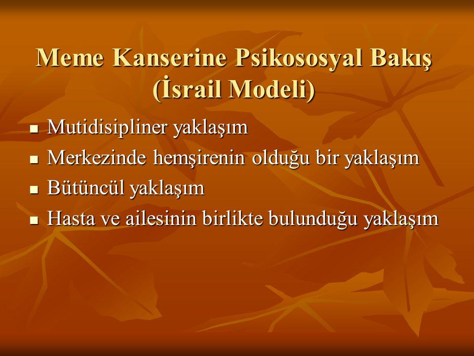 Meme Kanserine Psikososyal Bakış (İsrail Modeli)