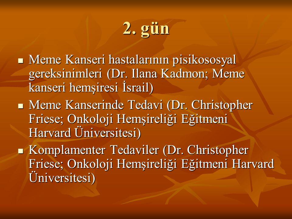 2. gün Meme Kanseri hastalarının pisikososyal gereksinimleri (Dr. Ilana Kadmon; Meme kanseri hemşiresi İsrail)