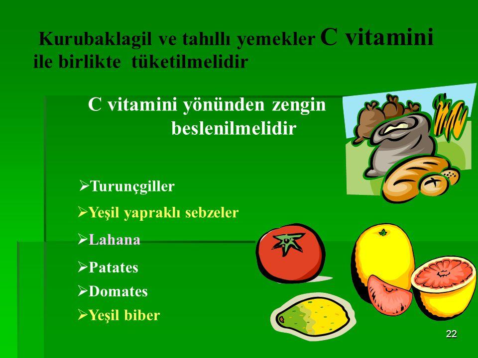 C vitamini yönünden zengin