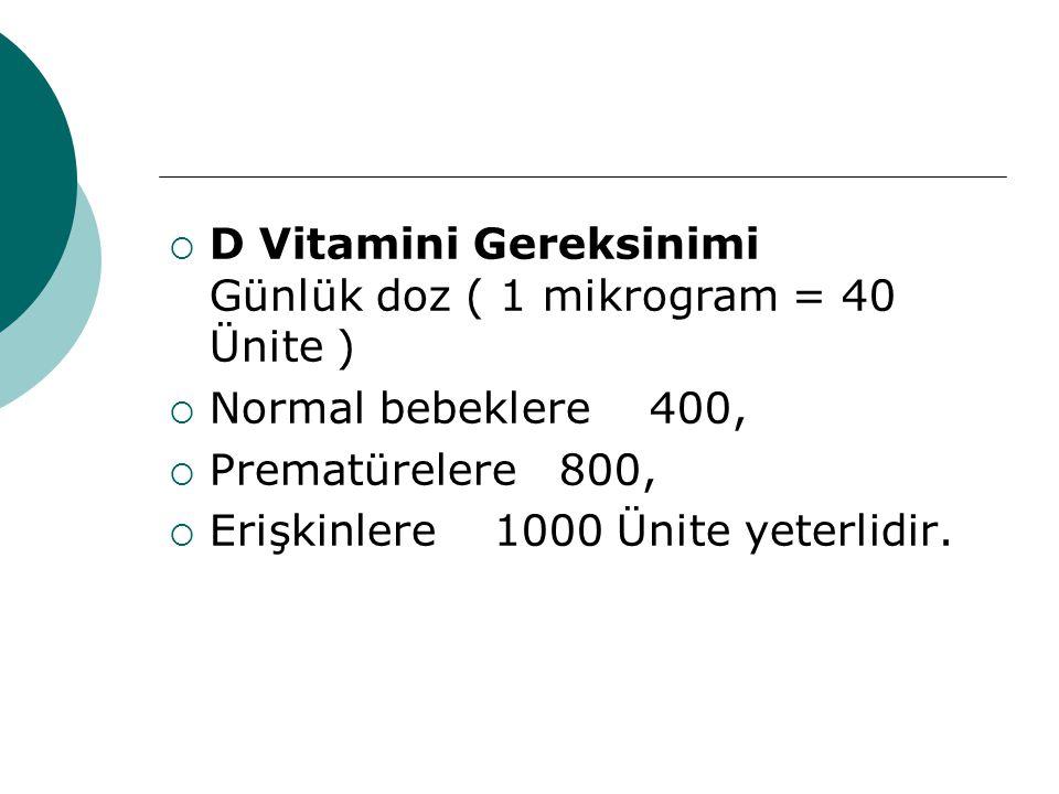 D Vitamini Gereksinimi Günlük doz ( 1 mikrogram = 40 Ünite )