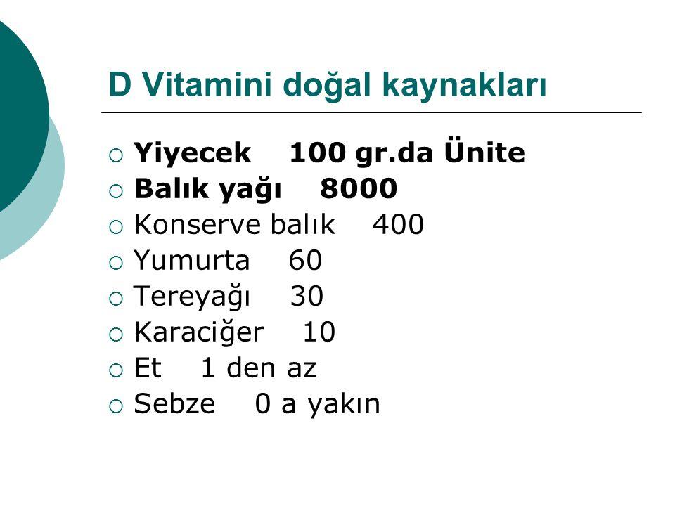 D Vitamini doğal kaynakları