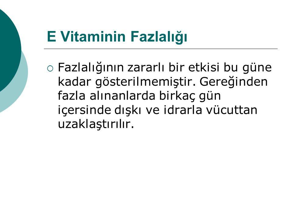 E Vitaminin Fazlalığı