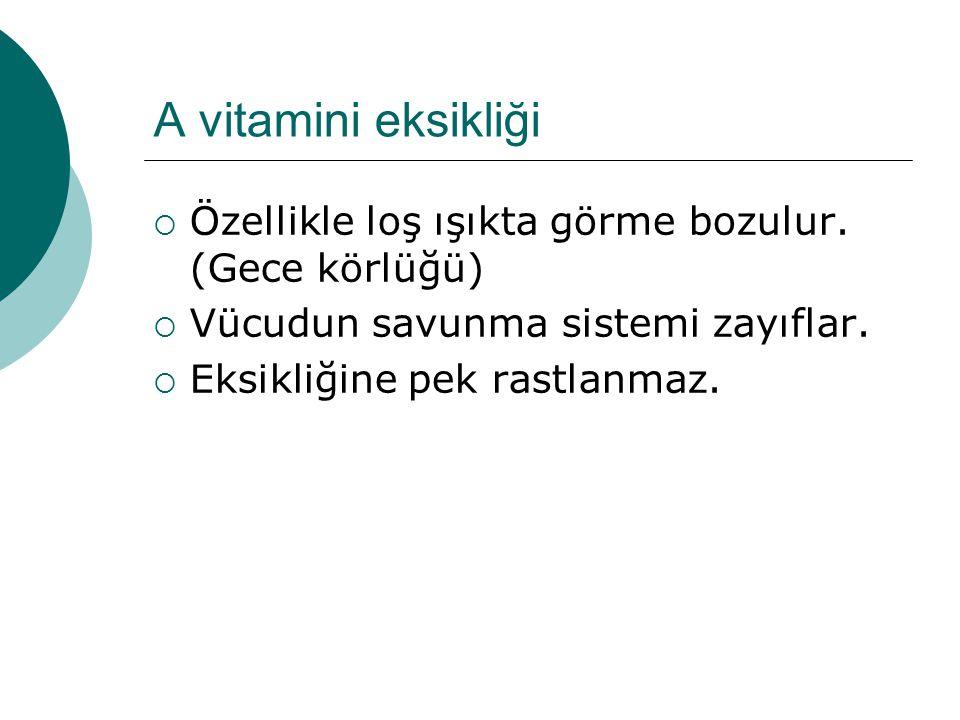 A vitamini eksikliği Özellikle loş ışıkta görme bozulur. (Gece körlüğü) Vücudun savunma sistemi zayıflar.
