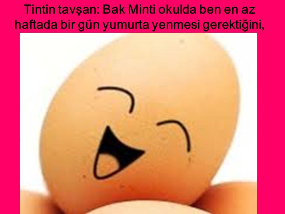Tintin tavşan: Bak Minti okulda ben en az haftada bir gün yumurta yenmesi gerektiğini,