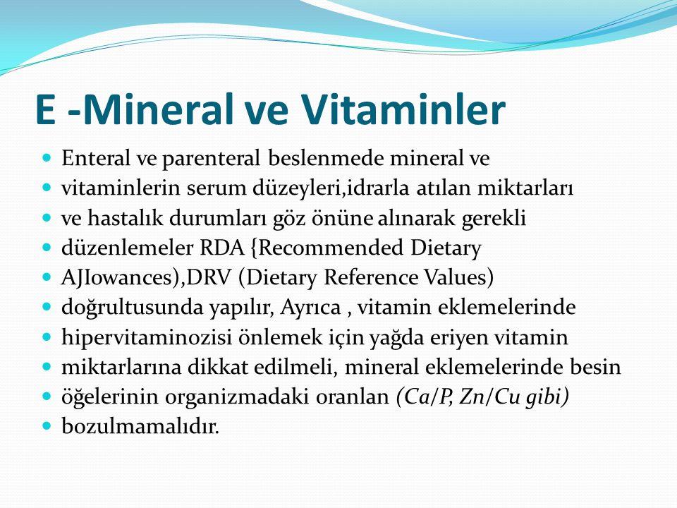 E -Mineral ve Vitaminler