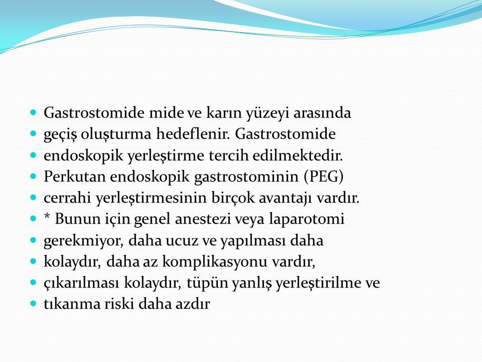 Gastrostomide mide ve karın yüzeyi arasında