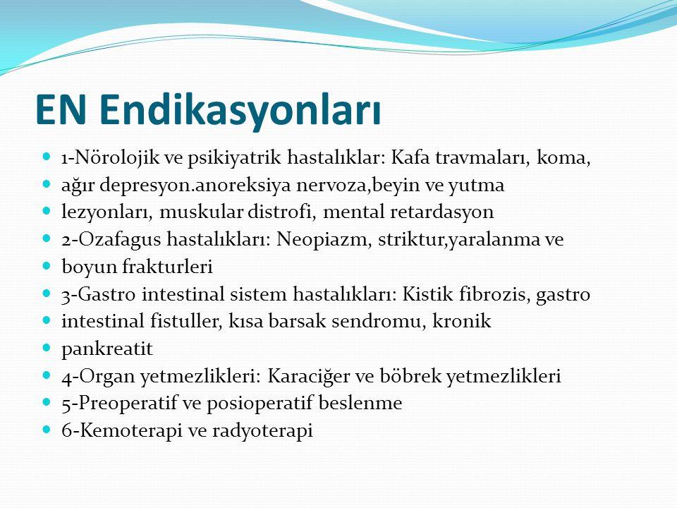 EN Endikasyonları 1-Nörolojik ve psikiyatrik hastalıklar: Kafa travmaları, koma, ağır depresyon.anoreksiya nervoza,beyin ve yutma.