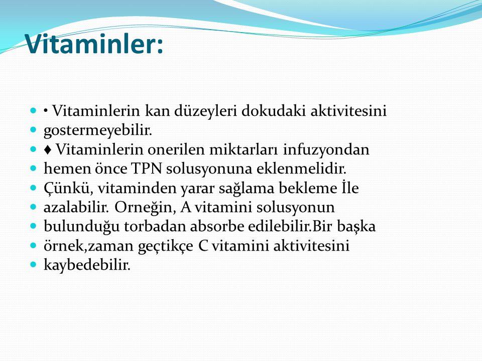 Vitaminler: • Vitaminlerin kan düzeyleri dokudaki aktivitesini