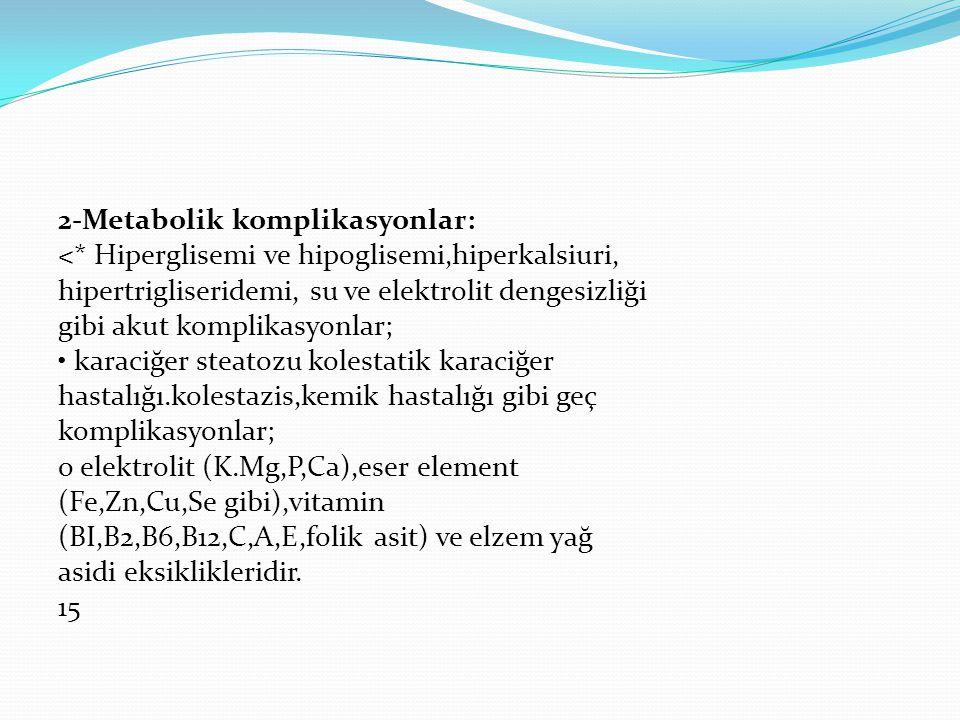 2-Metabolik komplikasyonlar: <