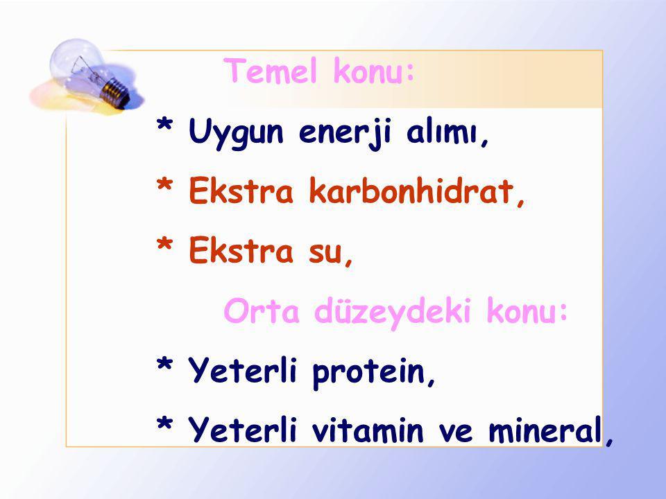 Temel konu: * Uygun enerji alımı, * Ekstra karbonhidrat, * Ekstra su, Orta düzeydeki konu: * Yeterli protein,