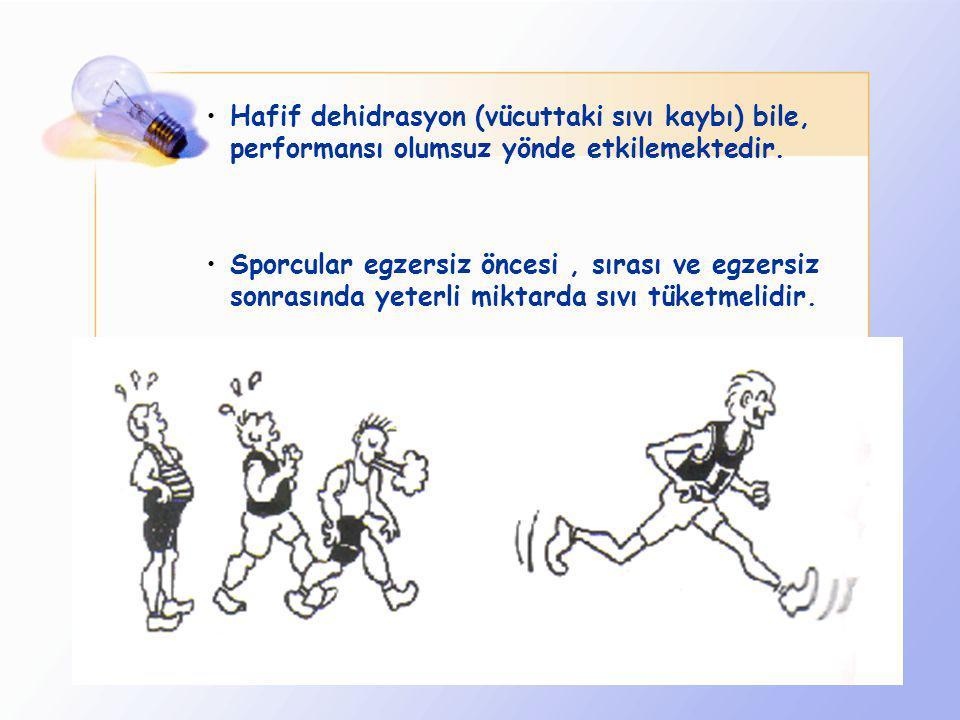 Hafif dehidrasyon (vücuttaki sıvı kaybı) bile, performansı olumsuz yönde etkilemektedir.