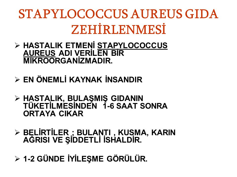STAPYLOCOCCUS AUREUS GIDA ZEHİRLENMESİ