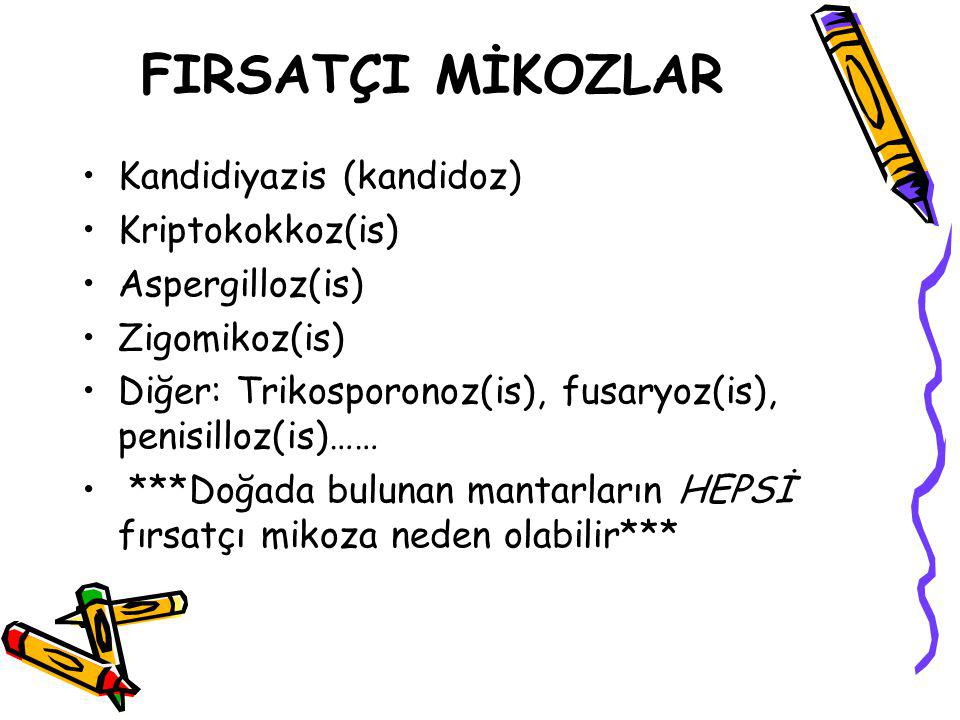 FIRSATÇI MİKOZLAR Kandidiyazis (kandidoz) Kriptokokkoz(is)