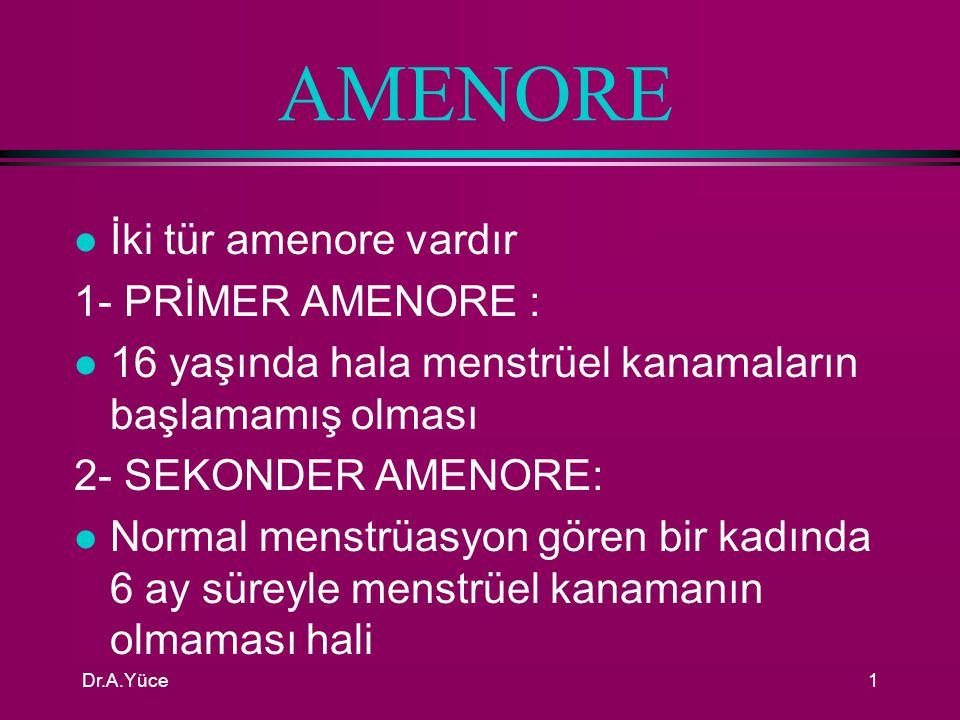 AMENORE İki tür amenore vardır 1- PRİMER AMENORE :